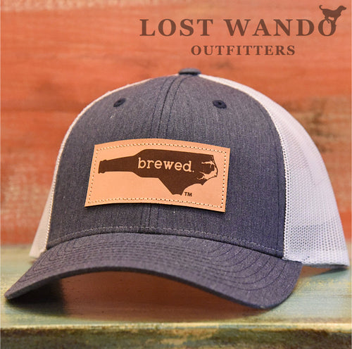 NC Brewed Leather Patch - Heathered Navy - Light Grey Richardson 115 - Lost Wando Outfitters