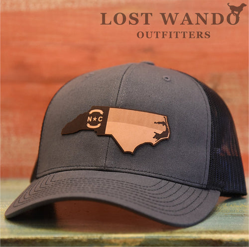 NC Outline Etched Leather  Charcoal Black - Lost Wando Outfitters