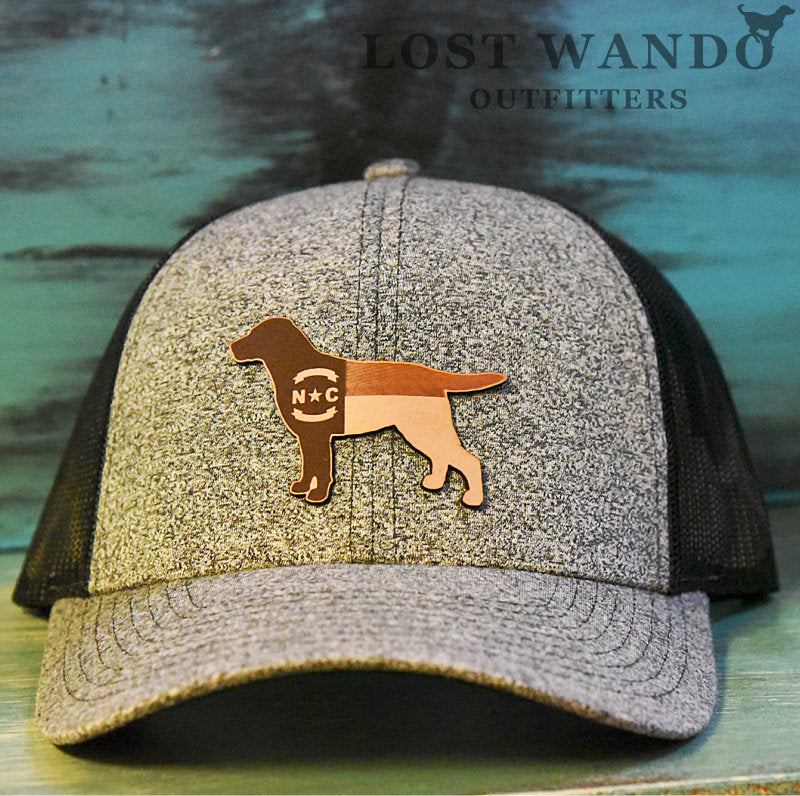 NC Lab Leather Patch Trucker Hat- Heather Black -Black Richardson 115 Lost Wando Outfitters