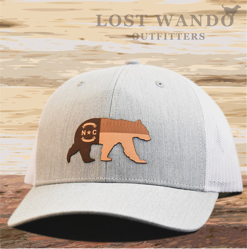 NC Bear Leather Patch Hat - Heather Grey-White Richardson 112 - Lost Wando Outfitters