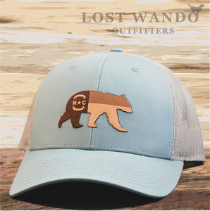 NC Bear Leather Patch Hat - Smoke Blue-Aluminum Richardson 112 - Lost Wando Outfitters