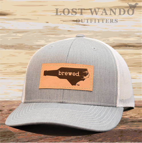 NC Brewed Leather Patch - Heather Grey - White - Lost Wando Outfitters