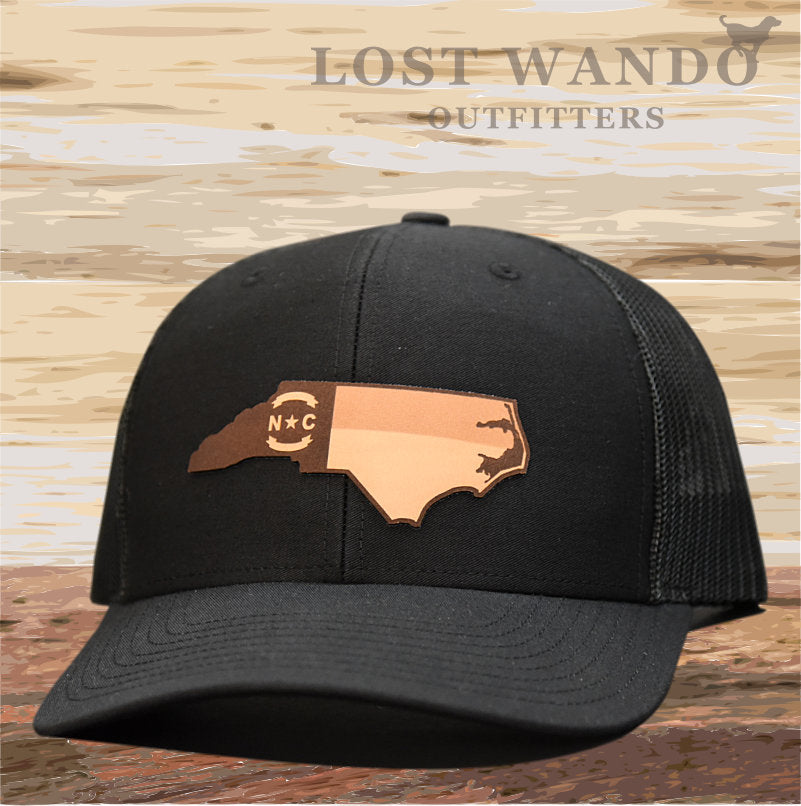 NC Etched Leather Outline -Black Black - Lost Wando Outfitters
