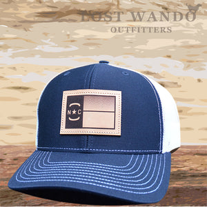 NC Flag Leather Patch - Navy - White - Lost Wando Outfitters