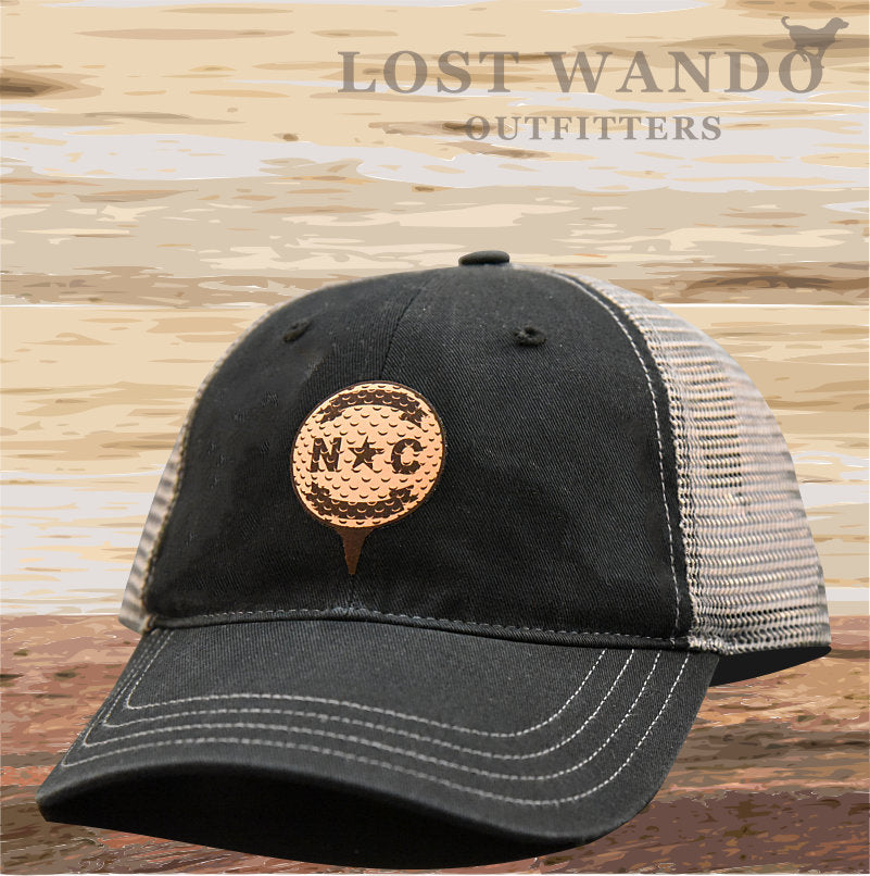North Carolina Golf Ball Leather Patch Hat - Black-Charcoal Richardson 111 Unstructured - Lost Wando Outfitters