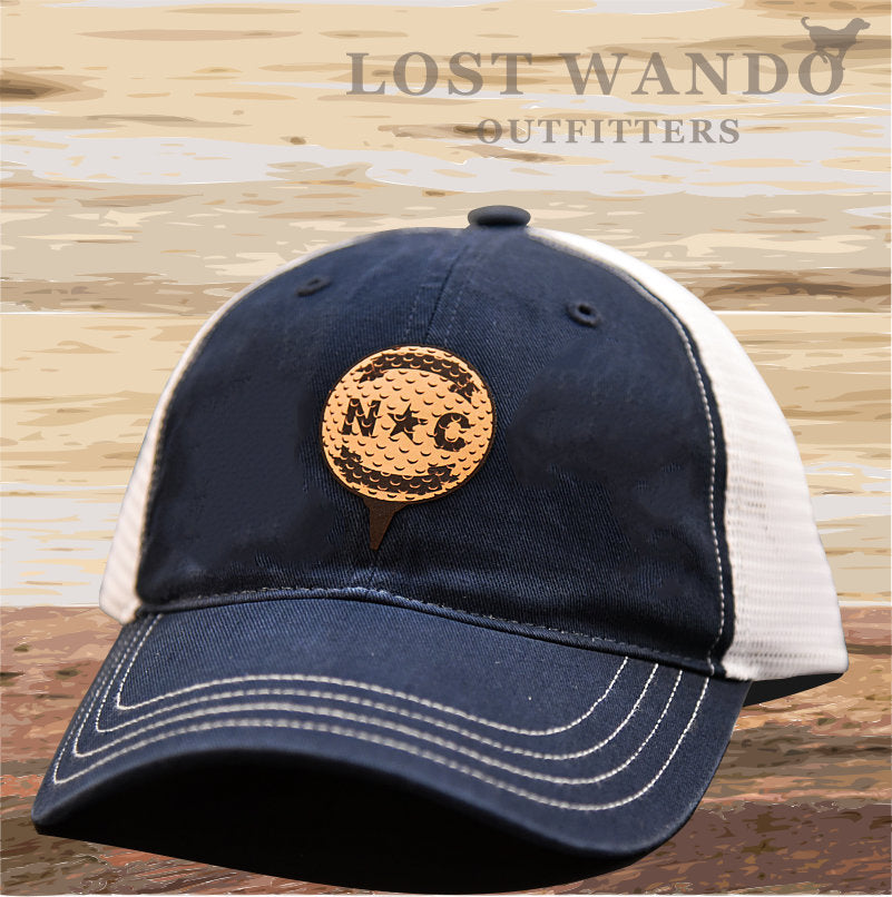 North Carolina Golf Ball Leather Patch Hat - Navy-White Richardson 111 Unstructured - Lost Wando Outfitters