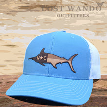Load image into Gallery viewer, NC Marlin Leather Patch - Columbia Blue - White - Lost Wando Outfitters