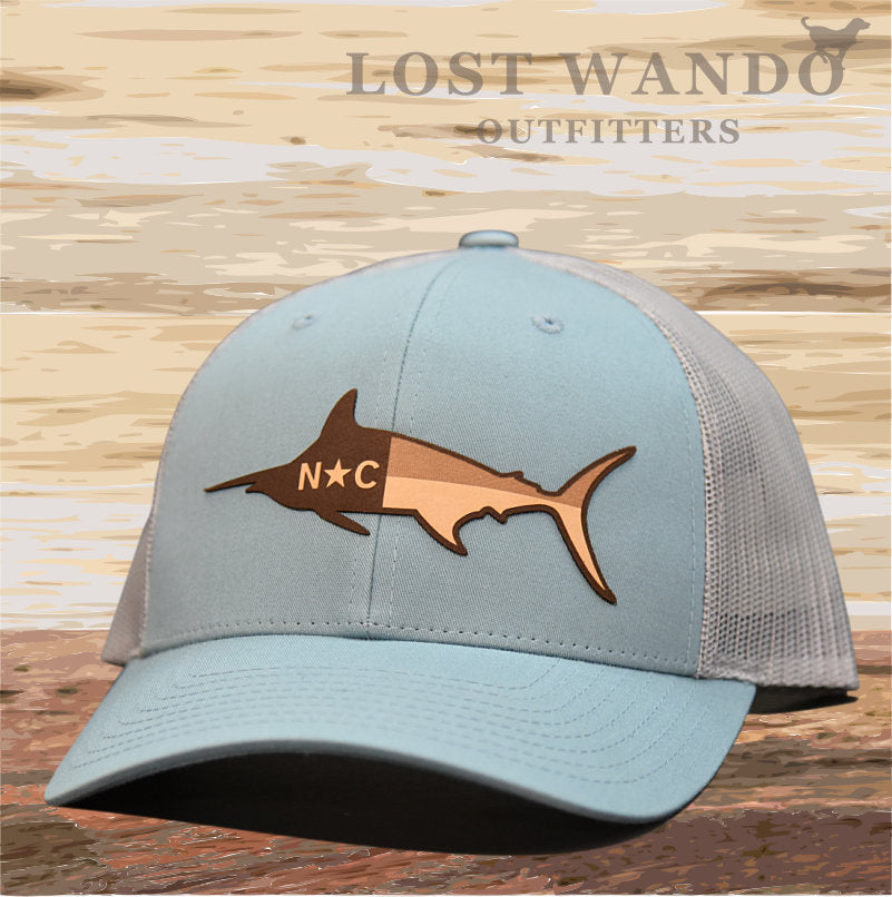 NC Marlin Leather Patch Hat - Smoke Blue-Aluminum Lost Wando Outfitters - Lost Wando Outfitters