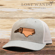 Load image into Gallery viewer, NC Etched Leather Outline Hat -Heather Grey - White - Lost Wando Outfitters