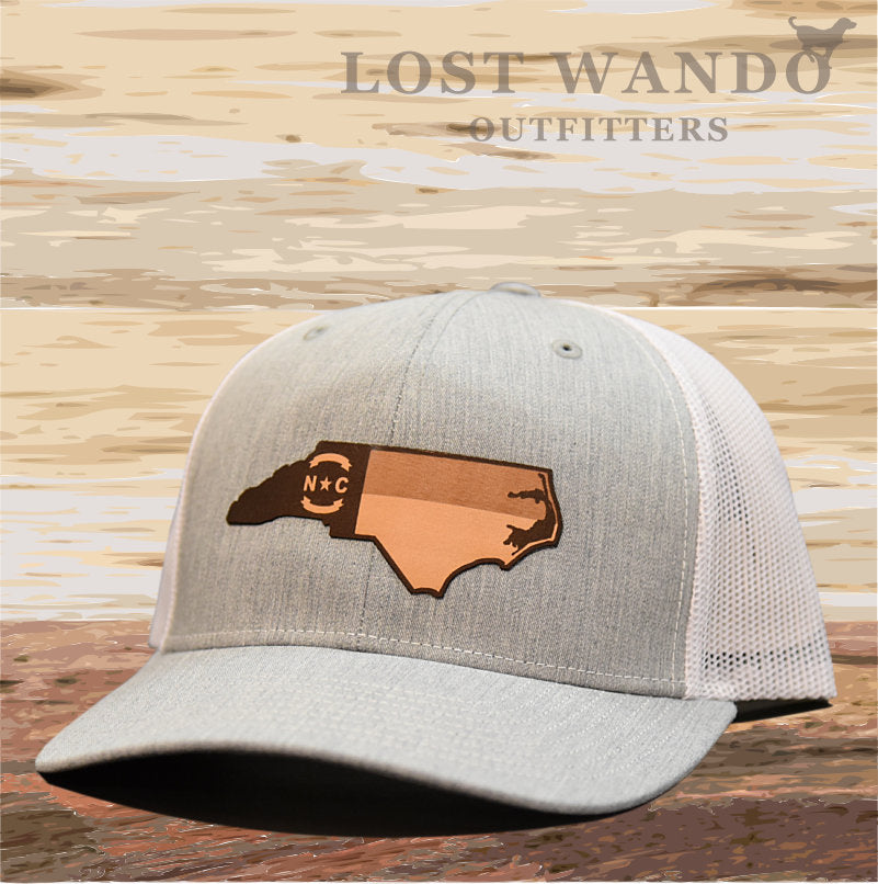 NC Etched Leather Outline Hat -Heather Grey - White - Lost Wando Outfitters