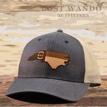 Load image into Gallery viewer, NC Etched Leather Outline -Heather Navy- Light Grey Richardson 115 - Lost Wando Outfitters