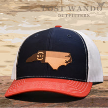 Load image into Gallery viewer, NC Etched Leather Outline Hat -Navy-White-Red - Lost Wando Outfitters