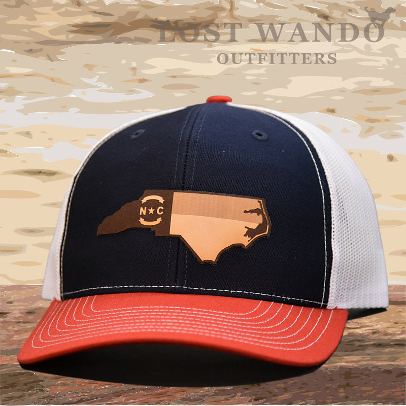 NC Etched Leather Outline Hat -Navy-White-Red - Lost Wando Outfitters