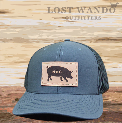 NC Pig Leather Patch - Charcoal - Black - Lost Wando Outfitters