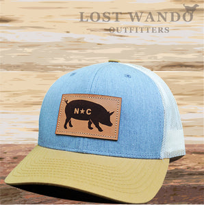NC Pig Leather Patch - Heather Grey- Birch - Amber Gold - Lost Wando Outfitters