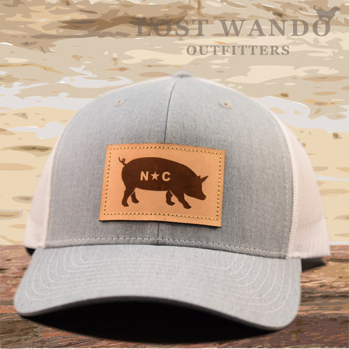 NC Pig Leather Patch - Heather Grey - White - Lost Wando Outfitters