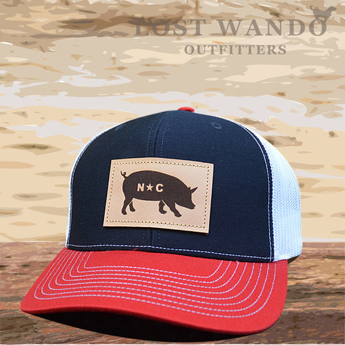 NC Pig Leather Patch - Navy -White - Red - Lost Wando Outfitters