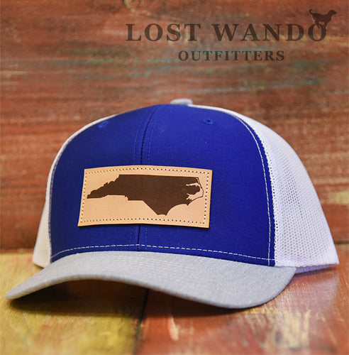 NC Outline Rectangle Leather Patch Royal White Heather Grey Richardson 112 - Lost Wando Outfitters