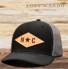 Load image into Gallery viewer, N*C Diamond Leather Patch Hat- Black-Charcoal Lost Wando Outfitters - Lost Wando Outfitters