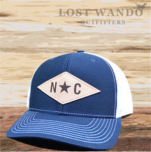 Load image into Gallery viewer, N*C Diamond Leather Patch -Navy - White - Lost Wando Outfitters