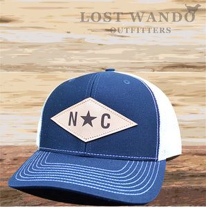 N*C Diamond Leather Patch -Navy - White - Lost Wando Outfitters