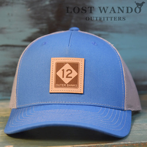 OBX-Highway 12 Leather Patch Trucker Hat- Cobalt Blue-Light Grey Richardson 112FP Lost Wando Outfitters. Outer Banks Highway 12