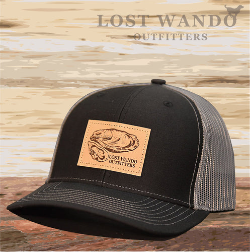Oyster Leather Patch Hat Black-Charcoal Lost Wando Outfitters - Lost Wando Outfitters
