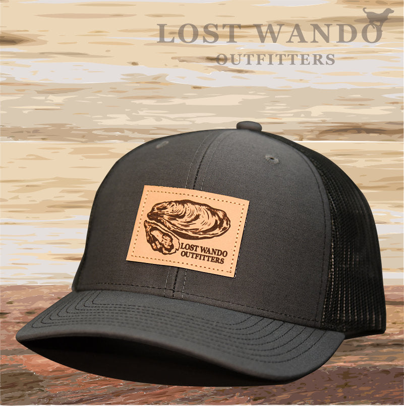 Oyster Leather Patch Hat Charcoal-Black Lost Wando Outfitters - Lost Wando Outfitters