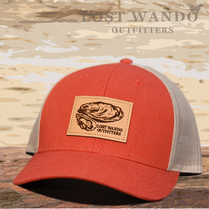 Oyster Leather Patch Hat Red Heather - Light Grey - Lost Wando Outfitters
