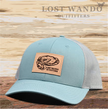 Load image into Gallery viewer, Oyster Leather Patch Hat Smoke Blue-Aluminum Lost Wando Outfitters - Lost Wando Outfitters