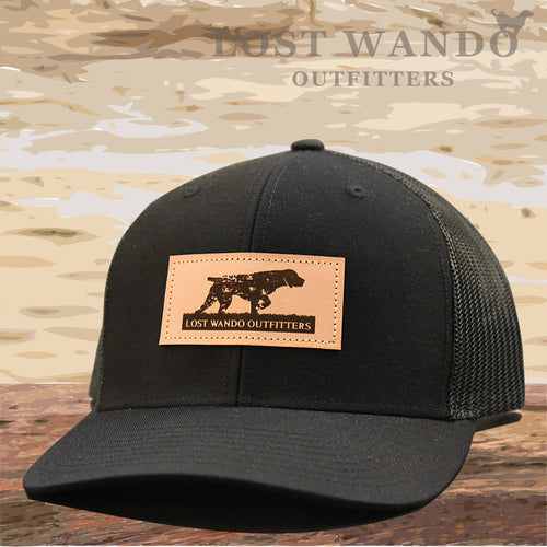 Pointer Leather Patch Hat Black-Black - Lost Wando Outfitters