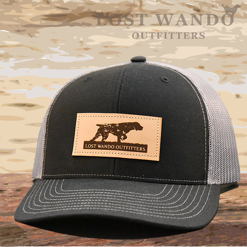 Pointer Leather Patch Hat Black-Charcoal - Lost Wando Outfitters
