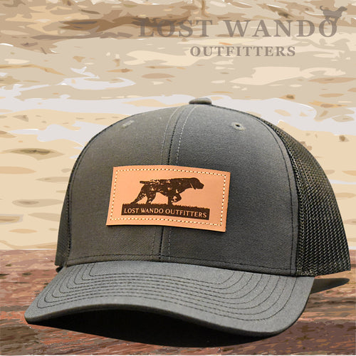 Pointer Leather Patch Hat Charcoal-Black - Lost Wando Outfitters