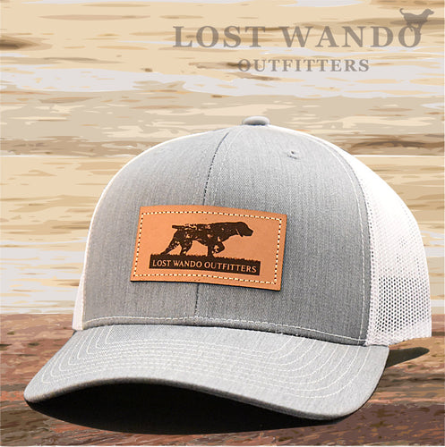 Pointer Leather Patch Hat Heather Grey -White - Lost Wando Outfitters