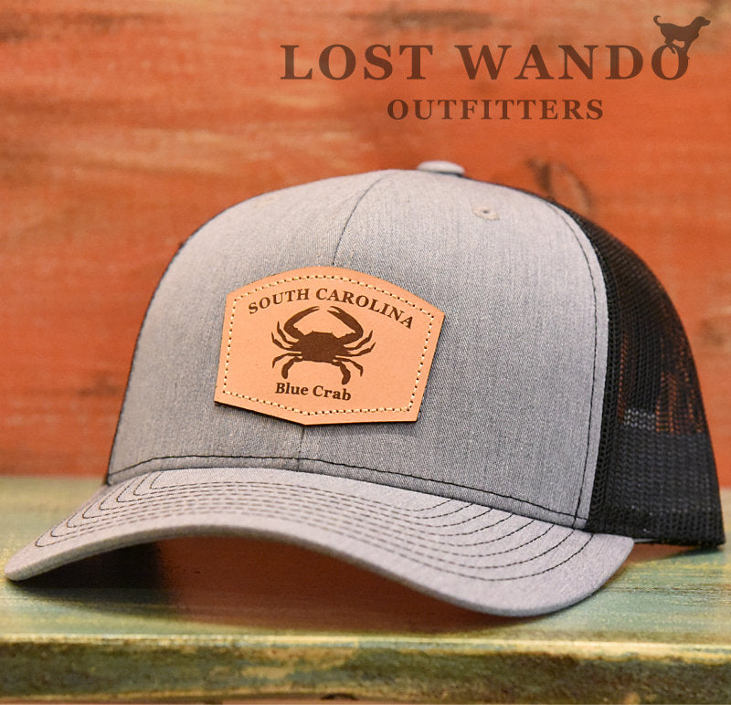 SC Blue Crab Leather Outline Hat -Heather Grey-Black Richardson 112 - Lost Wando Outfitters