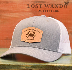 SC Blue Crab Leather Outline Hat -Heather Grey-White Richardson 112 - Lost Wando Outfitters