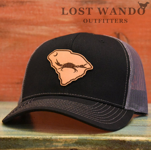 SC Claws Up Crab Leather Outline Hat -Black-Charcoal Richardson 112 - Lost Wando Outfitters