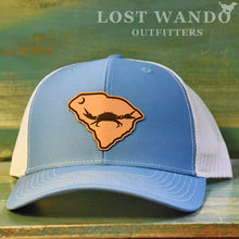 Load image into Gallery viewer, SC Claws Up Crab Leather Outline Hat -Columbia Blue-White Richardson 112