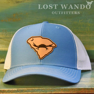 SC Claws Up Crab Leather Outline Hat -Columbia Blue-White Richardson 112