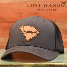 Load image into Gallery viewer, SC Claws Up Crab Leather Outline Hat -Charcoal-Black Richardson 112 - Lost Wando Outfitters