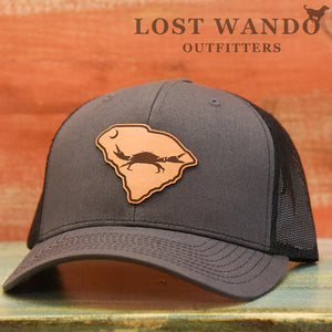 SC Claws Up Crab Leather Outline Hat -Charcoal-Black Richardson 112 - Lost Wando Outfitters