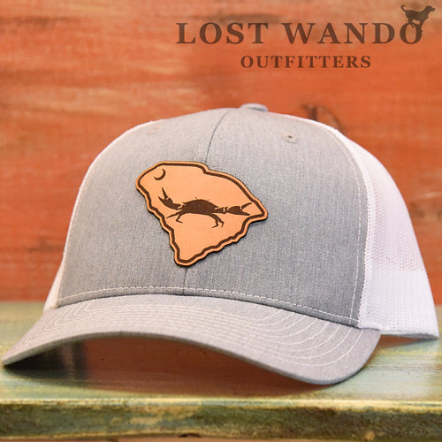SC Claws Up Crab Leather Outline Hat -Heather Grey-White Richardson 112 - Lost Wando Outfitters