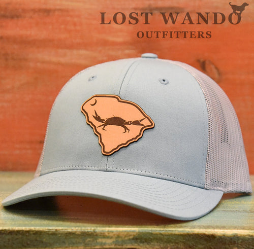 SC Claws Up Crab Leather Outline Hat -Smoke Blue-Aluminum Richardson 115 - Lost Wando Outfitters