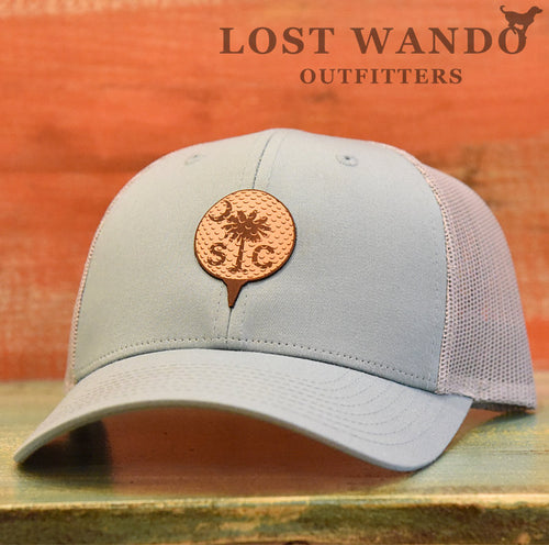 South Carolina Golf Ball Leather Patch Hat - Smoke Blue-Aluminum Richardson 115 - Lost Wando Outfitters