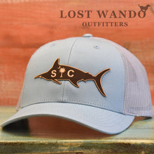 Load image into Gallery viewer, SC Marlin Etched Leather -Smoke Blue-Aluminum Richardson 115 Lost Wando Outfitters - Lost Wando Outfitters