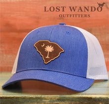 Load image into Gallery viewer, SC Etched Leather Outline Hat -Royal Heather-Light Grey Richardson 115 - Lost Wando Outfitters