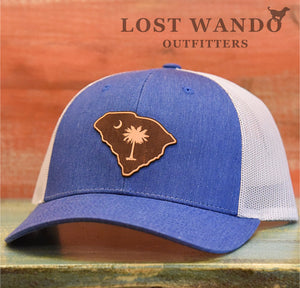 SC Etched Leather Outline Hat -Royal Heather-Light Grey Richardson 115 - Lost Wando Outfitters