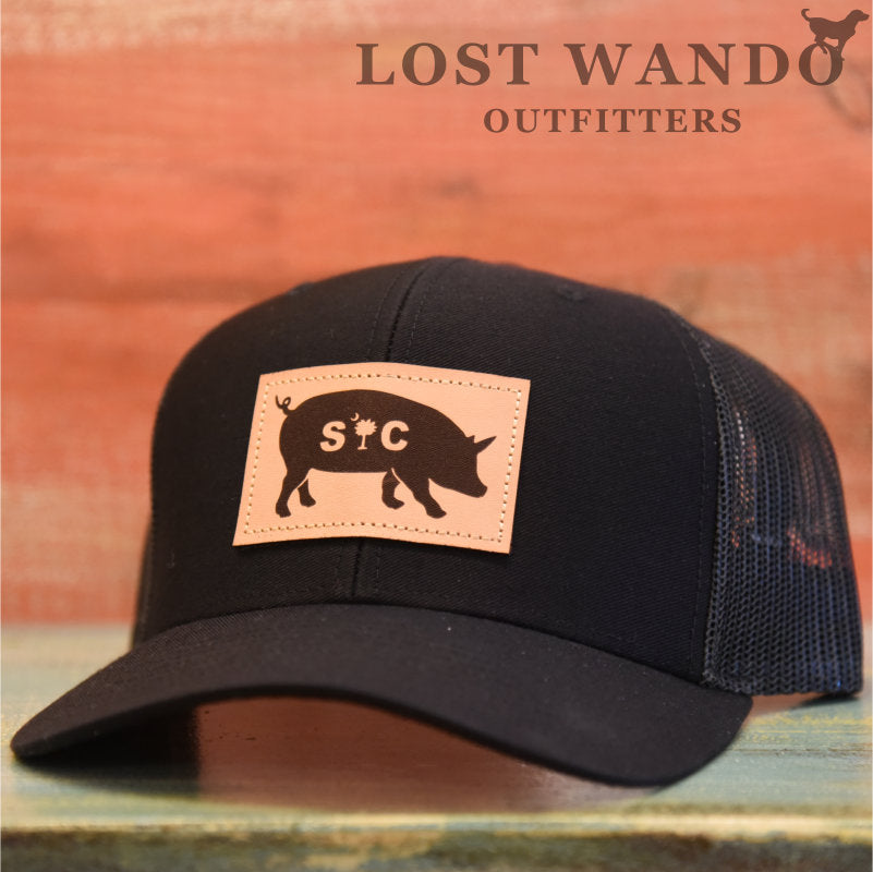 SC Pig Leather Patch Hat- Black - Black - Lost Wando Outfitters