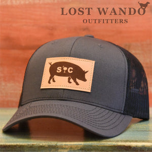 SC Pig Leather Patch Hat Charcoal - Black - Lost Wando Outfitters