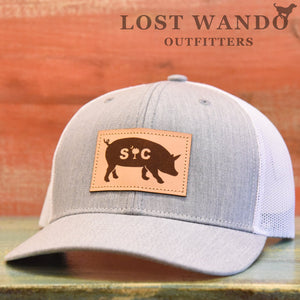SC Pig Leather Patch Hat Heather Grey - White - Lost Wando Outfitters